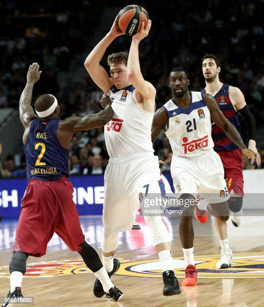 Luka Doncic of Real Madrid in action against Tyrese Rice of Barcelona Lassa during the Turkish Airlines Euroleague basketball match between Real...