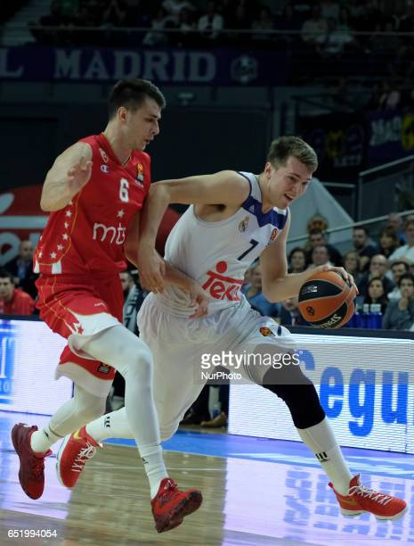 Luka Doncic of Real Madrid in action during the 2016/2017 Turkish Airlines EuroLeague Regular Season Round 25 game between Real Madrid v Crvena...