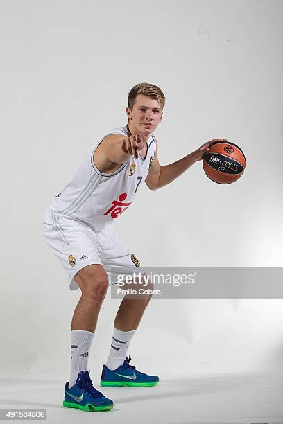 Luka Doncic of Real Madrid poses during the 2015/2016 Turkish Airlines Euroleague Basketball Media Day at Polideportivo Valle de Las Casas on October...