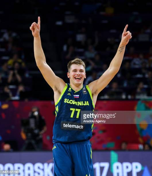 Luka Doncic of Slovenia celebrates during the FIBA Eurobasket 2017 semi final basketball match between Spain and Slovenia at Sinan Erdem Dome in...