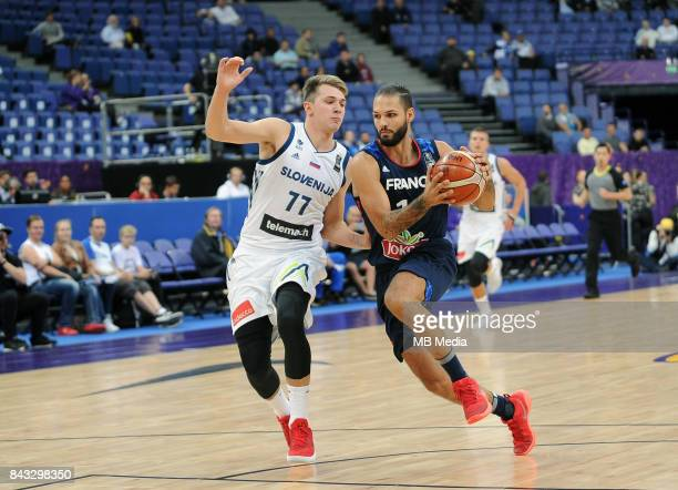 Luka Doncic of Slovenia Evan Fournier of France during the FIBA Eurobasket 2017 Group A match between Slovenia and France on September 6 2017 in...