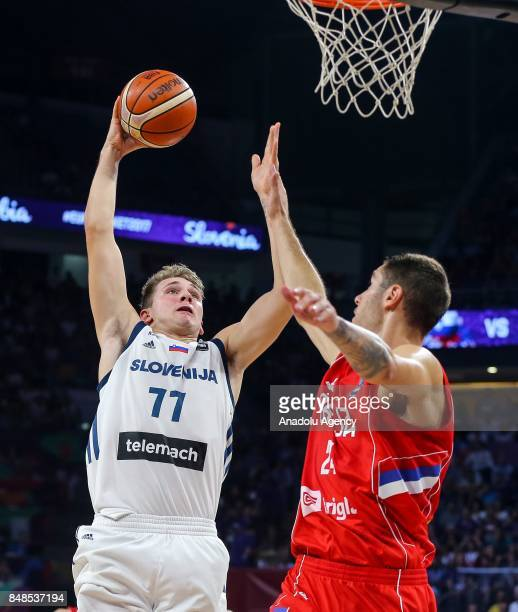 Luka Doncic of Slovenia in action against Stefan Jovic of Serbia during the FIBA Eurobasket 2017 final basketball match between Slovenia and Serbia...