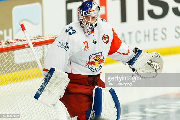 Luka Gracnar Goaltender of Red Bull Salzburg single action during the Champions Hockey League match between HV71 Jonkoping and Red Bull Salzburg at...