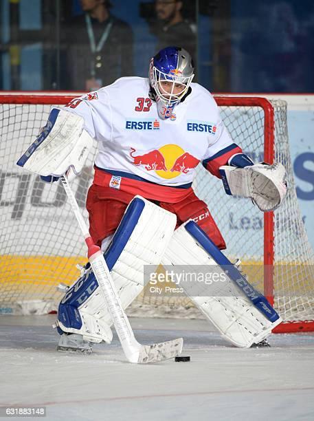 Luka Gracnar of EC Red Bull Salzburg handles the puck during the action shot September 16 2016 in Salzburg Austria