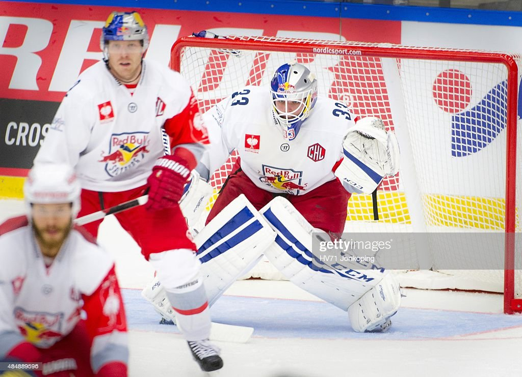 Luka Gracnar #33 of Red Bull Salzburg during the Champions Hockey League group stage game between HV71 Jonkoping and Red Bull Salzburg on August 22, 2015 in Jonkoping, Sweden.