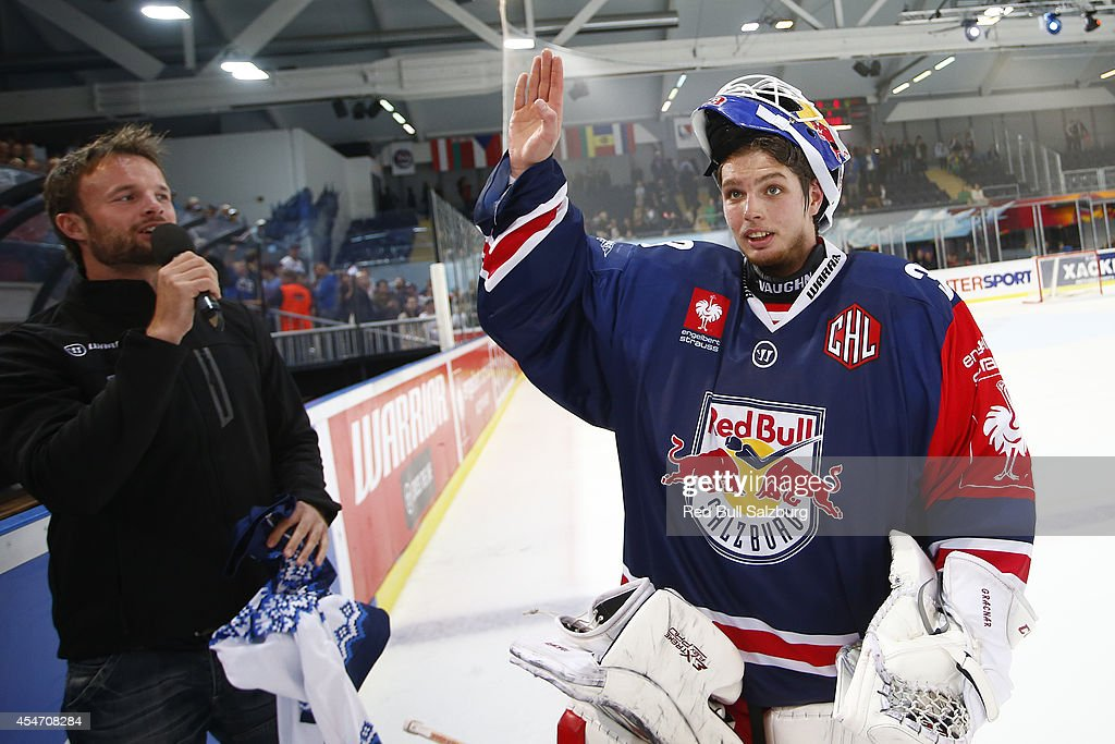 Luka Gracnar of Red Bull Salzburg greets the fans during the Champions Hockey League group stage game between Red Bull Salzburg and JYP Jyvaskyla at Eisarena Salzburg on September 5, 2014 in Oslo, Norway.
