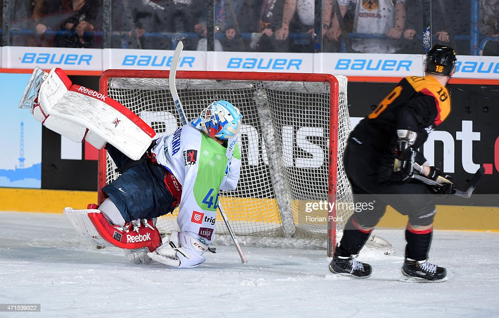 Luka Gracnar of Team Slovenia and Kai Hospelt of Team Germany during the game between Germany and Slovenia on april 29, 2015 in Berlin, Germany.