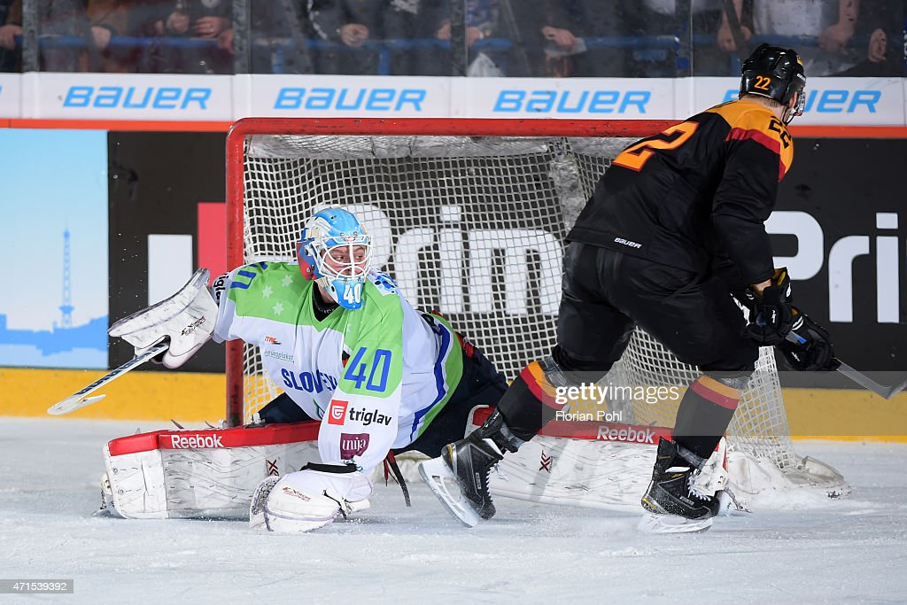 Luka Gracnar of Team Slovenia and Matthias Plachta of Team Germany during the game between Germany and Slovenia on april 29, 2015 in Berlin, Germany.