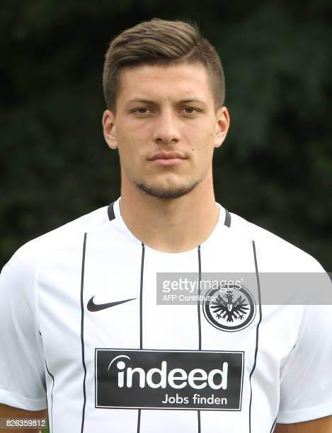 Luka Jovic from German first division Bundesliga football team Eintracht Frankfurt poses for a photo in Frankfurt Germany on August 4 2017 / AFP...