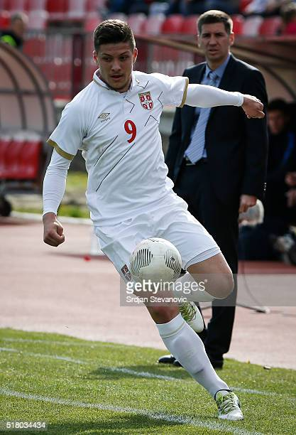 Luka Jovic of Serbia in action during the UEFA European U19 Championship Elite Round Group 7 match between Serbia and France at Stadium Cika Daca on...