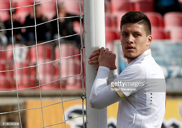 Luka Jovic of Serbia looks on during the UEFA European U19 Championship Elite Round Group 7 match between Serbia and France at Stadium Cika Daca on...