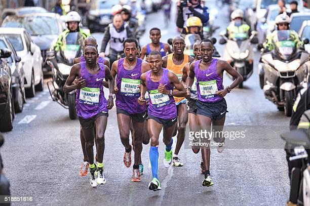 Luka Kanda Yatayal Atanfu Mark Korir and Cybrian Kotut during the 40th Paris Marathon on April 3 2016 in Paris France