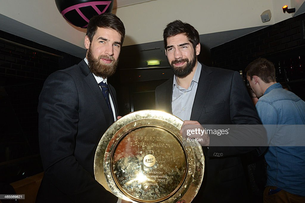 Luka Karabatic and Nikola Karabatic (R) attend the ' Retour des Indestructibles' French Handball Players Celebrate their Euro 2014 Victory At Vip Room on January 27, 2014 in Paris, France.