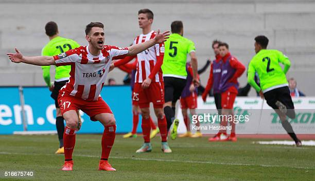 Luka Marino Odak of Erfurt looks dejected after the opening goal by Jamil Raphael Dem of Chemnitz during the Third League match between FC Rot Weiss...