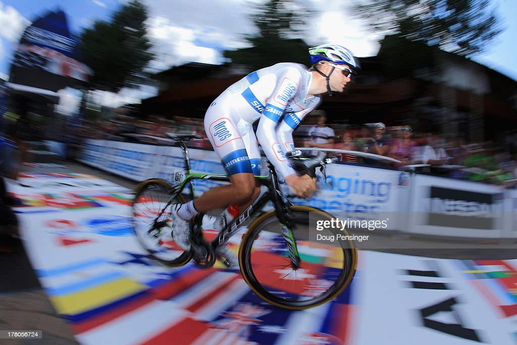 Luka Mezgec of Slovenia riding for Argos-Shimano leaves the start as he competes in the individual time trial during stage five of the 2013 USA Pro Challenge on August 23, 2013 in Vail, Colorado.