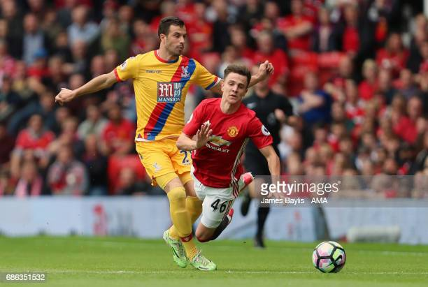 Luka Milivojevic of Crystal Palace and Josh Harrop of Manchester United during the Premier League match between Manchester United and Crystal Palace...