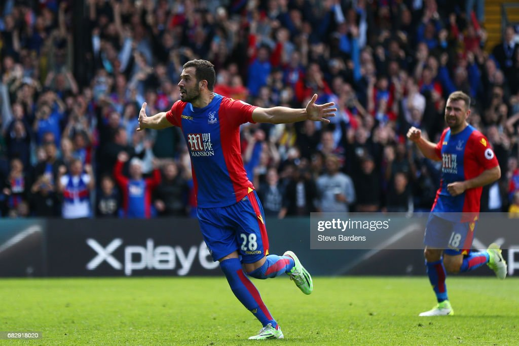 Luka Milivojevic of Crystal Palace celebrates scoring his sides third goal during the Premier League match between Crystal Palace and Hull City at Selhurst Park on May 14, 2017 in London, England.