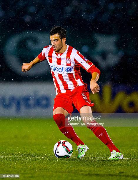 Luka Milivojevic of Olympiacos in action during the Superleague match between Panathinaikos FC and Olympiacos at Apostolos Nikolaidis Stadium on...