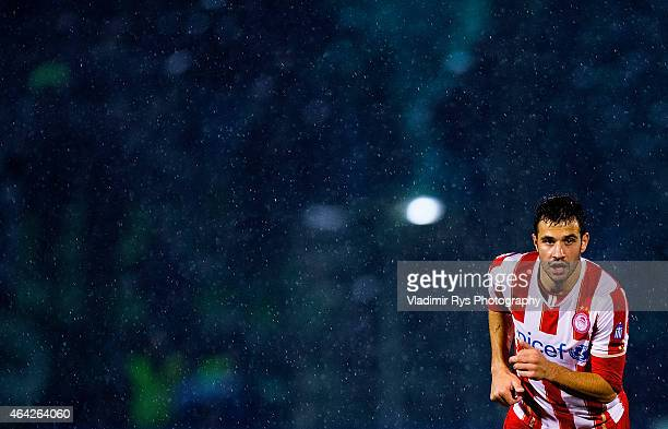 Luka Milivojevic of Olympiacos is seen during the Superleague match between Panathinaikos FC and Olympiacos at Apostolos Nikolaidis Stadium on...