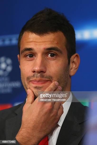 Luka Milivojevic of Olympiacos looks on during a Olympiacos FC press conference on the eve of their UEFA Champions League match against FC Bayern...