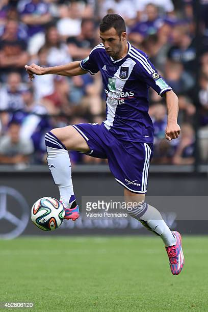 Luka Milivojevic of RSC Anderlecht in action during the Jupiler Pro League match between RSC Anderlecht and Royal Mouscron Peruwelz at Constant...