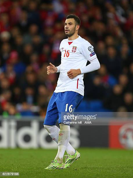 Luka Milivojevic of Serbia during the FIFA 2018 World Cup Qualifier between Wales and Serbia at Cardiff City Stadium on November 12 2016 in Cardiff...