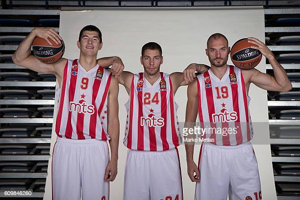 Luka Mitrovic #9 of Crvena Zvezda mts Belgrade Stefan Jovic #24 and Marko Simonovic #19 poses during the 2016/2017 Turkish Airlines EuroLeague Media...