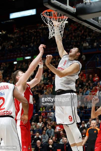Luka Mitrovic shoots a layup during a game of Turkish Airlines EuroLeague basketball between AX Armani Exchange Milan vs Brose Bamberg at Mediolanum...