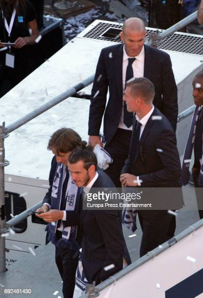 Luka Modric Bale Zidane and Toni Kroos celebrate during the Real Madrid celebration the day after winning the 12th UEFA Champions League Final at...