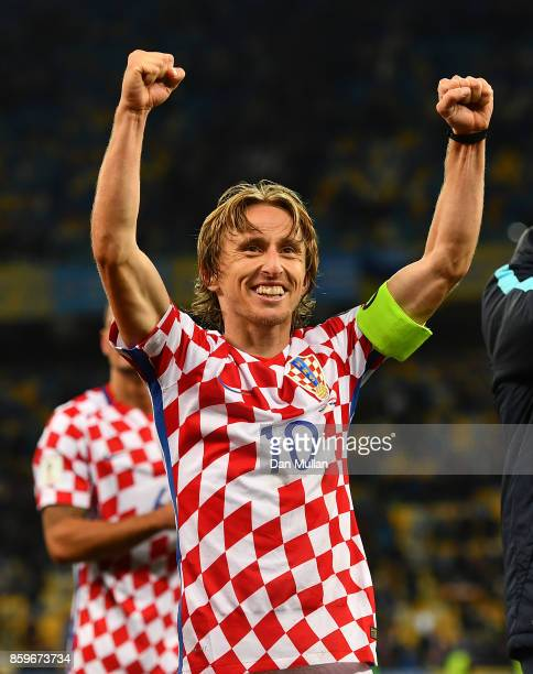 Luka Modric of Croatia celebrates following victory during the FIFA 2018 World Cup Qualifier Group I match between Ukraine and Croatia at Kiev...