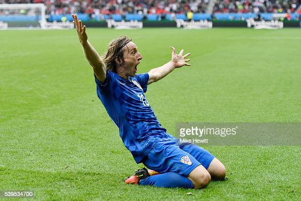 Luka Modric of Croatia celebrates scoring his team's first goal during the UEFA EURO 2016 Group D match between Turkey and Croatia at Parc des...