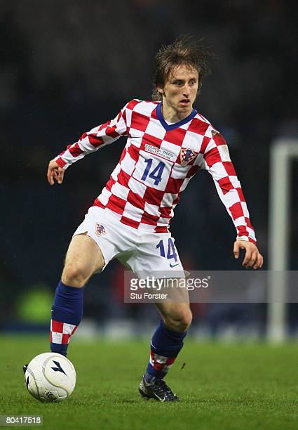 Luka Modric of Croatia controls the ball during the Tennent's International Challenge friendly match between Scotland and Croatia at Hampden Park on...