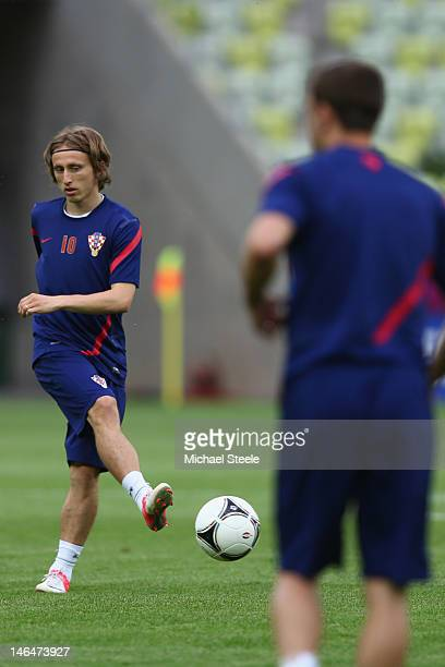 Luka Modric of Croatia during a UEFA EURO 2012 training session at the Municipal Stadium on June 17 2012 in Gdansk Poland