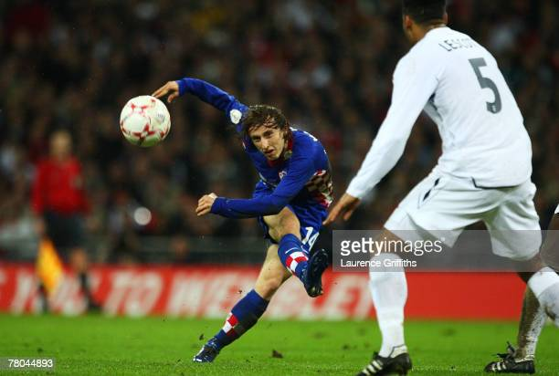 Luka Modric of Croatia has a shot on goal during the Euro 2008 Group E qualifying match between England and Croatia at Wembley Stadium on November 21...