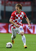 Luka Modric of Croatia in action during the EURO 2016 Group H Qualifier match between Italy and Croatia at Stadio Giuseppe Meazza on November 16 2014...