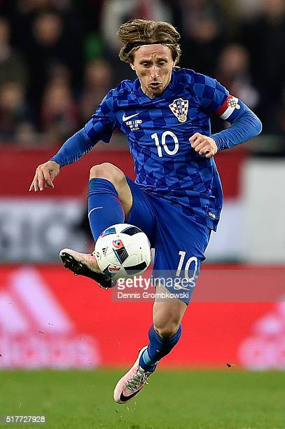 Luka Modric of Croatia in action during the International Friendly match between Hungary and Croatia at Groupama Arena on March 26 2016 in Budapest...
