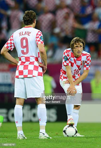 Luka Modric of Croatia looks on afterJesus Navas of Spain scored a goal during the UEFA EURO 2012 group C match between Croatia and Spain at The...
