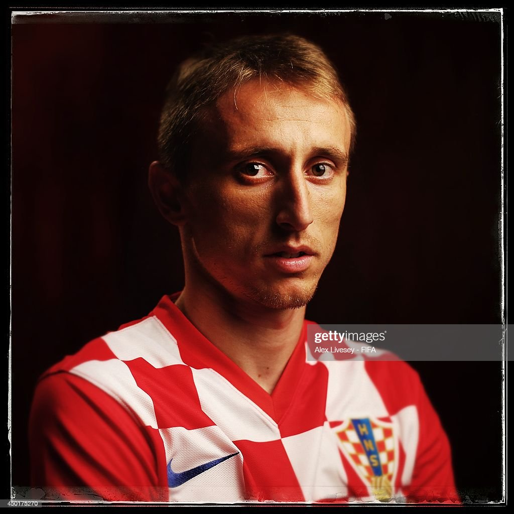<a gi-track='captionPersonalityLinkClicked' href=/galleries/search?phrase=Luka+Modric&family=editorial&specificpeople=560350 ng-click='$event.stopPropagation()'>Luka Modric</a> of Croatia poses during the official FIFA World Cup 2014 portrait session on June 5, 2014 in Salvador, Brazil.