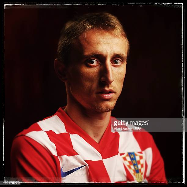 Luka Modric of Croatia poses during the official FIFA World Cup 2014 portrait session on June 5 2014 in Salvador Brazil