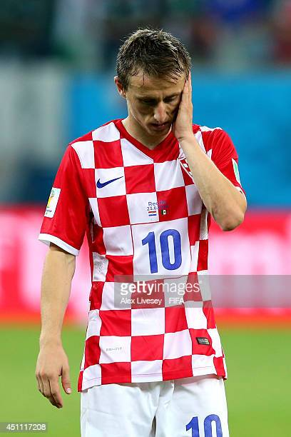 Luka Modric of Croatia reacts after the 13 defeat in the 2014 FIFA World Cup Brazil Group A match between Croatia and Mexico at Arena Pernambuco on...