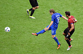 Luka Modric of Croatia scores his team's first goal during the UEFA EURO 2016 Group D match between Turkey and Croatia at Parc des Princes on June 12...