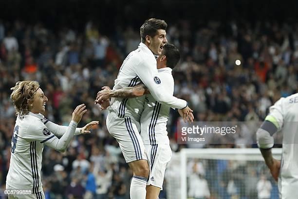 Luka Modric of Real Madrid Alvaro Morata of Real Madrid James Rodriguez of Real Madrid during the UEFA Champions League group F match between Real...