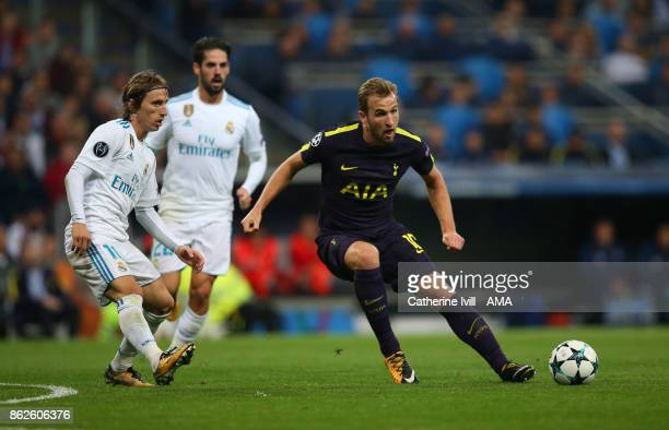 Luka Modric of Real Madrid and Harry Kane of Tottenham Hotspur during the UEFA Champions League group H match between Real Madrid and Tottenham...