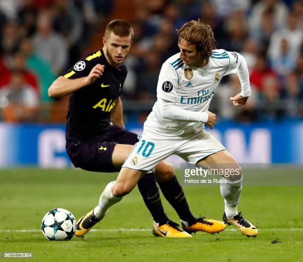 Luka Modric of Real Madrid and Jan Vertonghen of Totteham Hotspur compete for the ball during the UEFA Champions League group H match between Real...