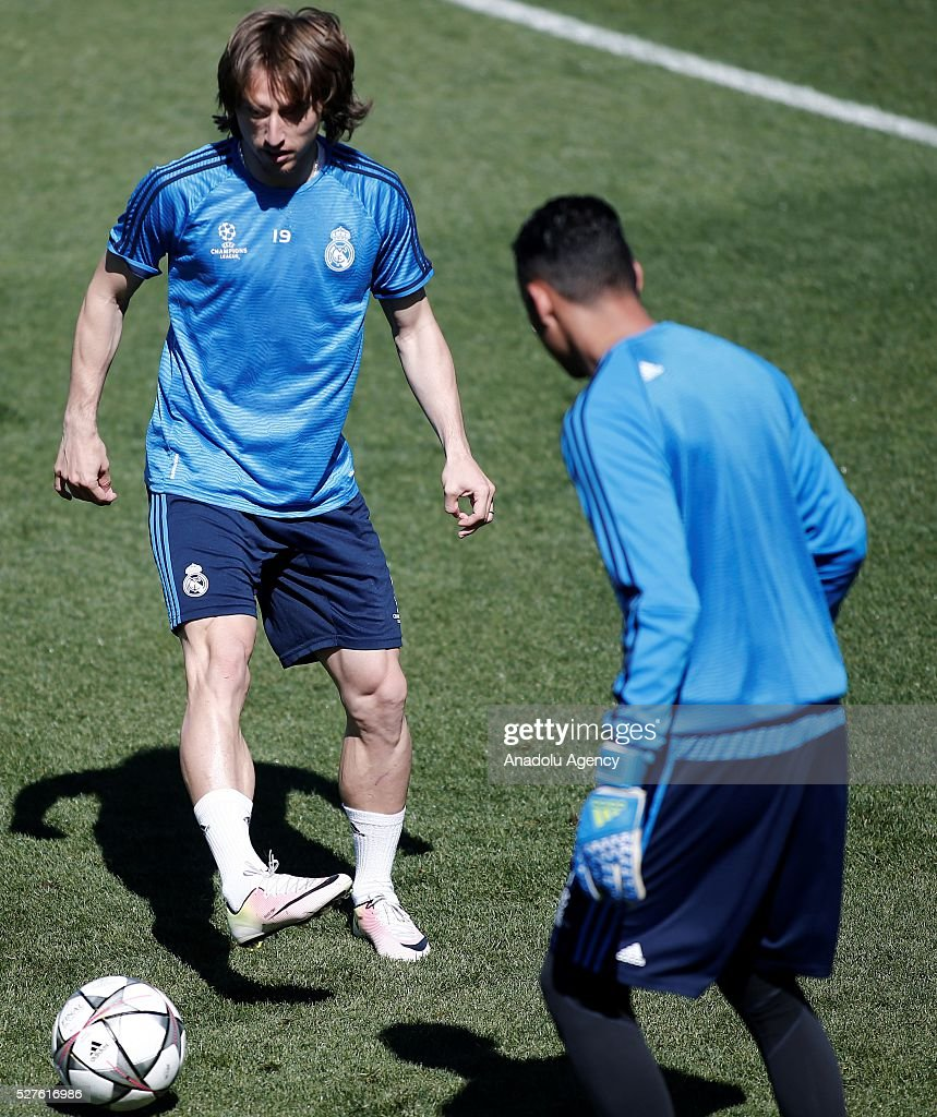 Luka Modric (L) of Real Madrid attends training session ahead of UEFA Champions League semi-final second leg football match between Real Madrid CF and Manchester City at Valdebebas training ground in Madrid, Spain on May 3, 2016.
