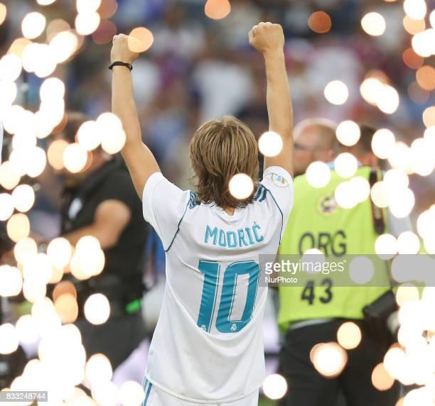 Luka Modric of Real Madrid celebrates after the Supercopa de Espana Final second leg match between Real Madrid and FC Barcelona at Estadio Santiago...