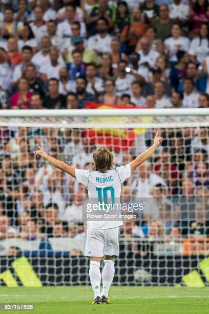 MADRID SPAIN AUGUST 16 Luka Modric of Real Madrid celebrates during their Supercopa de Espana Final 2nd Leg match between Real Madrid and FC...