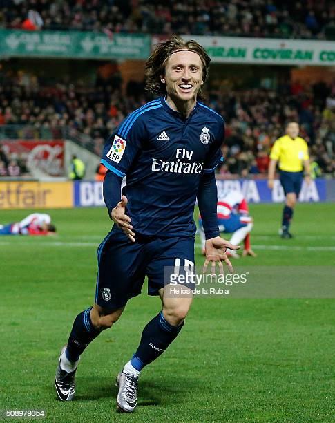 Luka Modric of Real Madrid celebratres after scoring during the La Liga match between Granada CF and Real Madrid CF at Nuevo Estadio de Los Carmenes...
