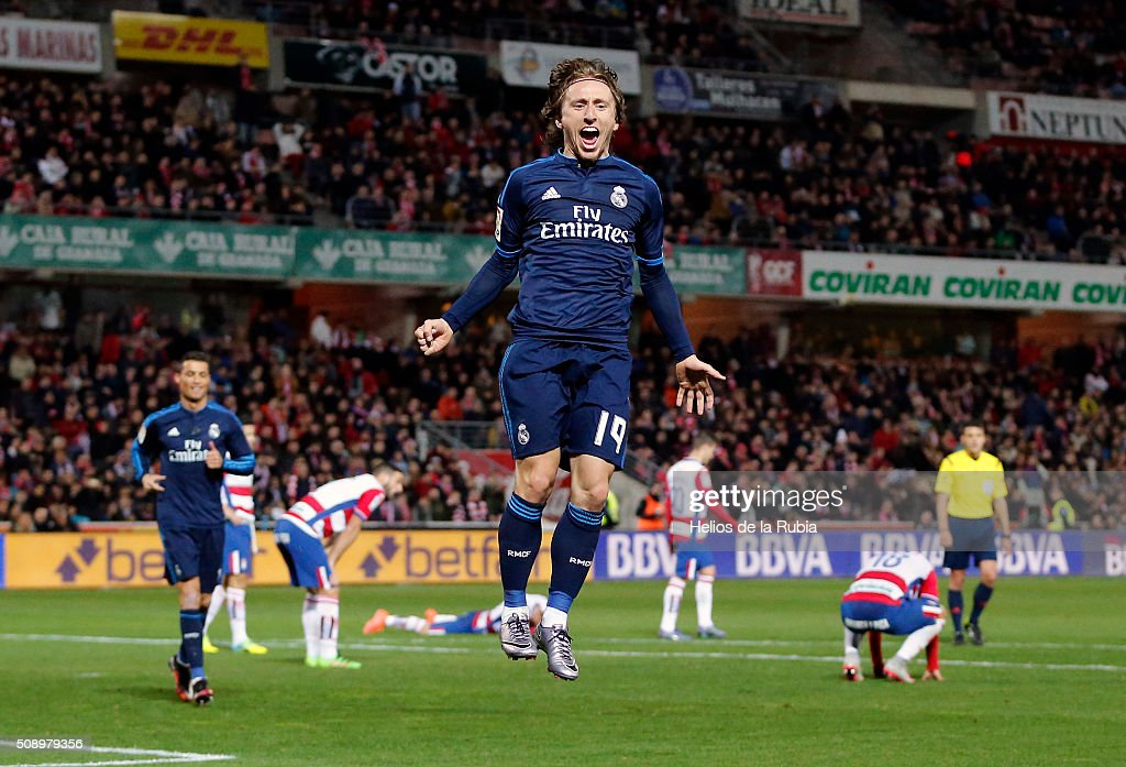 <a gi-track='captionPersonalityLinkClicked' href=/galleries/search?phrase=Luka+Modric&family=editorial&specificpeople=560350 ng-click='$event.stopPropagation()'>Luka Modric</a> of Real Madrid celebratres after scoring during the La Liga match between Granada CF and Real Madrid CF at Nuevo Estadio de Los Carmenes on February 7, 2016 in Granada, Spain.