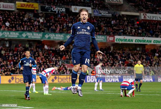 Luka Modric of Real Madrid celebratres after scoring during the La Liga match between Granada CF and Real Madrid CF at Nuevo Estadio de Los Carmenes...